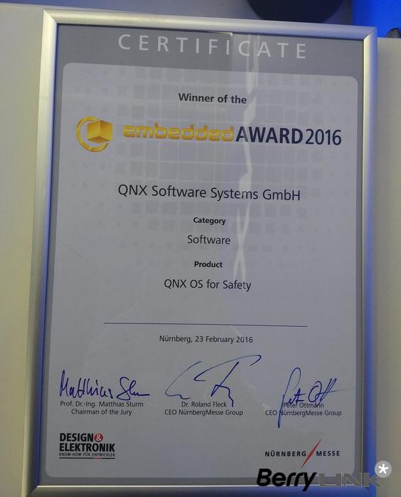 黑莓QNX获奖证书