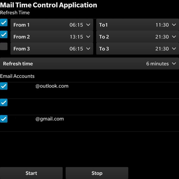 黑莓手机(OS10)邮件服务应用Mail Time Control(邮件时间控制)