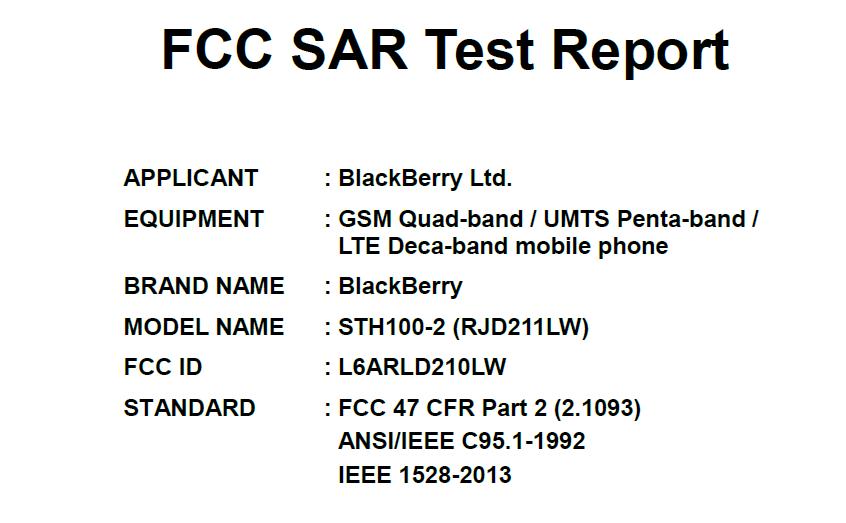 FCC黑莓新机认证信息