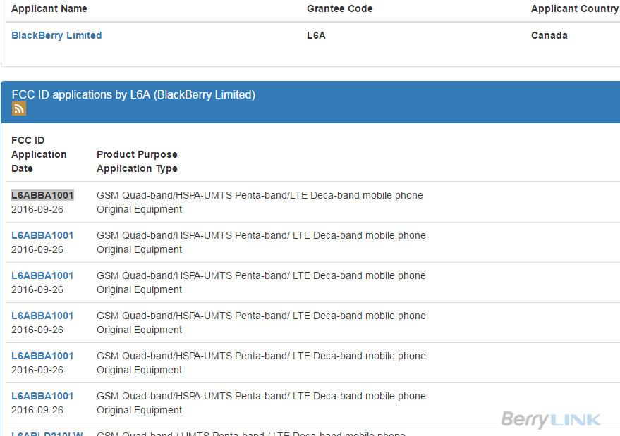 FCC L6ABBA1001 blackberry