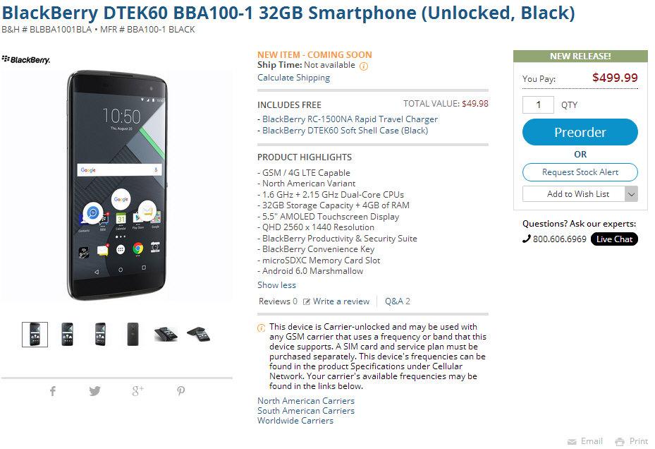 blackberry DTEK60预售